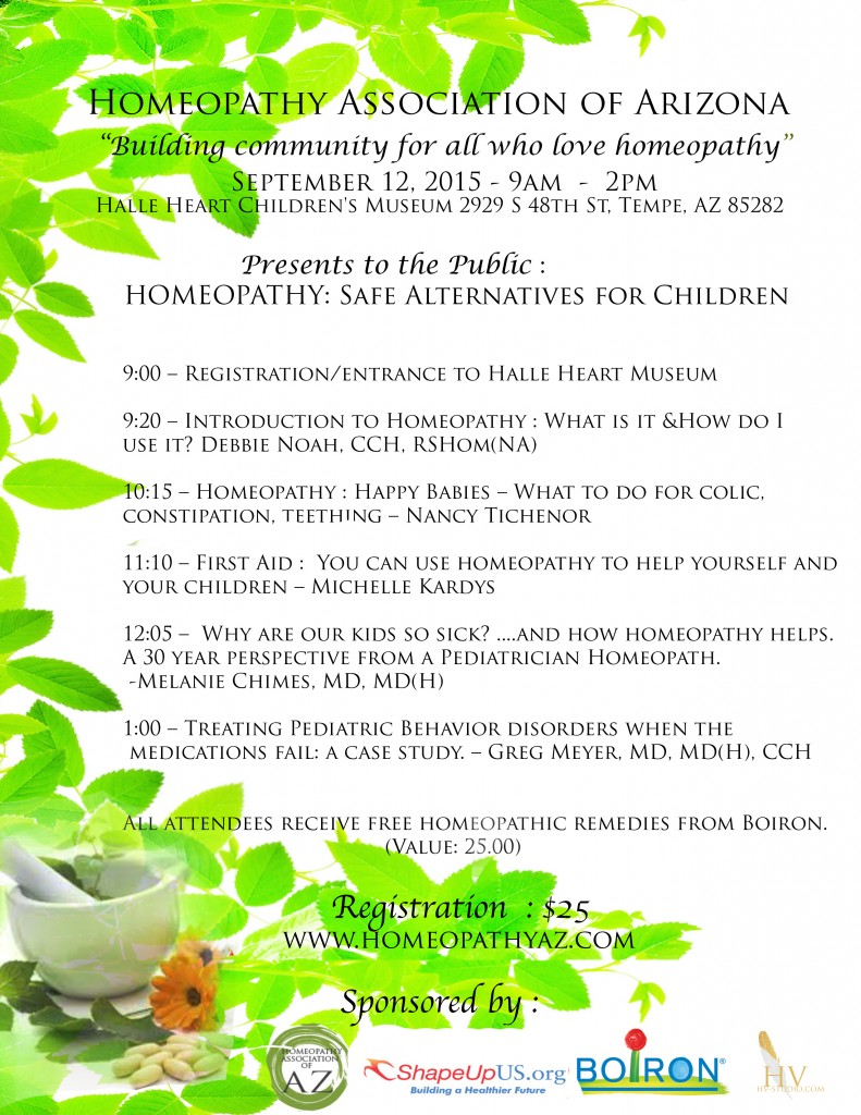 Conference:  September 12, 2015 Homeopathy: Safe Alternatives for Children